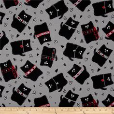 Kanvas Smudgy Cat Tossed Smudgy Grey from @fabricdotcom Designed by Greta Lynn for Kanvas Studios in association with Benartex, this cotton print is perfect for quilting, apparel and home décor accents. Colors include black, white, grey and red.