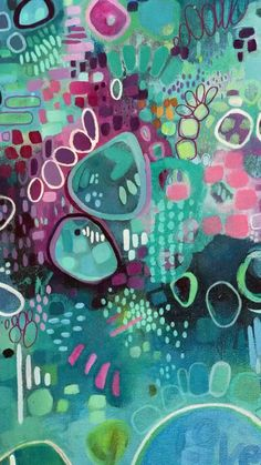 Colorful, abstract and fun acrylic painting
