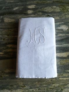 french idyll - french metis linen double sheet: light-weight + bright white + monogram ms