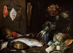 Alexander Adriaenssen  (1587–1661)   Still life with fish, fruit, vegetables and kitchen utensils  1630-1661  oil on canvas  121 × 165 cm (47.6 × 65 in)