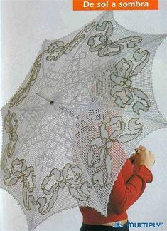 handmade crocheted fabrics: woven crochet parasol sun to shade Freeform Crochet, Filet Crochet, Irish Crochet, Crochet Lace, Crochet Stitches, Lace Umbrella, Lace Parasol, Vintage Knitting, Hand Knitting
