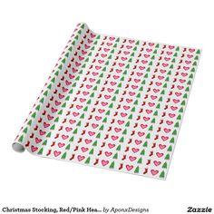 Christmas Stocking, Red/Pink Heart, Christmas Tree