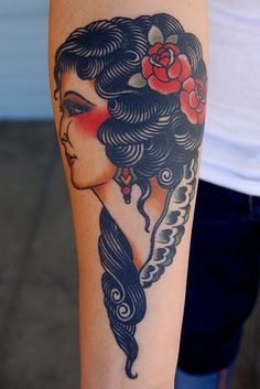 tattoosforpassionnotfashion:    done by adam barton    I wish I could see more of this face, but for being such a classic, simple lady profile piece, the hair and the way it's stylized just struck me as super fresh.