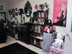 A goth's bedroom - Reminds me so much of my room as a teen.