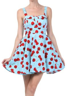 Up-Town Cherry Swing Dress, Blue