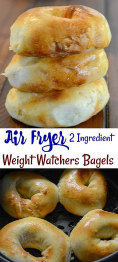 Air Fryer 2 Ingredient Bagels Weight Watchers Friendly Air Fryer 2 Ingredient Bagels are as easy as it gets to making homemade bagels. No yeast, no boiling, and they are done in a hurry. Best of all these 2 ingredient bagels are Weight Watchers friendly! Poulet Weight Watchers, Plats Weight Watchers, Weight Watchers Chicken, Weight Watchers Meals, Weight Watchers Muffins, Air Fryer Oven Recipes, Air Frier Recipes, Air Fryer Dinner Recipes, Air Fryer Chicken Recipes