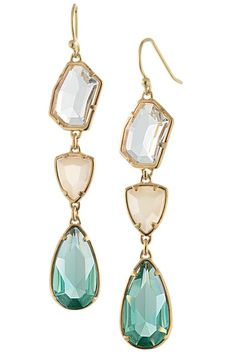 Peach and mint stone earrings