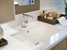 - Master Bathroom Pictures From HGTV Smart Home 2014 on HGTV.  Under mount sink...
