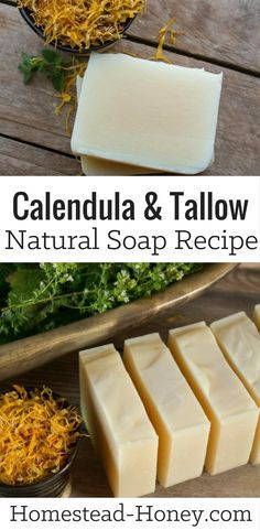 Get the recipe for this all-natural Calendula Tallow Soap. | Homestead Honey