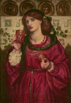 "ROSSETTI, Dante Gabriel  : The Loving Cup   (1867)   oil on panel   66 x 45.7    Signed (in monogram) and dated lower left: DGR 1867  Titled on top of frame : THE LOVING CUP  Inscribed on bottom of frame : Douce nuit et joyeux jour / A chevalier de bel amour""   The National Museum of Western Art, Tokyo"