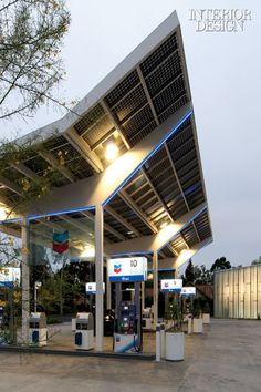 ♂ SOLAR POWER AT THE PUMP  Coaxed by a childhood friend to take on his first commercial project, residential architect Kevin Oreck achieved the improbable: a United Oil gas station in Cerritos, California, supplied by Chevron, that's both good-looking and green