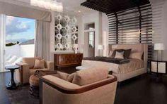 décoration de chambre avec tête de lit design et luminaires contemporains