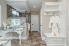 Designer Builders - Aiken SC - grey bathroom, white cabinets, dressing vanity, bathroom bench seat