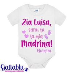Idea Regalo Nascita e Battesimo! Personalizzato con I Nomi Body Bimbo o Bimba Zia e Zio Volete Essere la mia Madrina e Il Mio Padrino