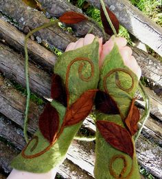 Warm and Wintery Woodland Pixie Cuffs by folkowl on Etsy, $45.00