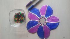 Aluminium Art - knutselen met aluminiumfolie - bloem flower blue purple made by Mirelle/Crea met Kids 2-12jr