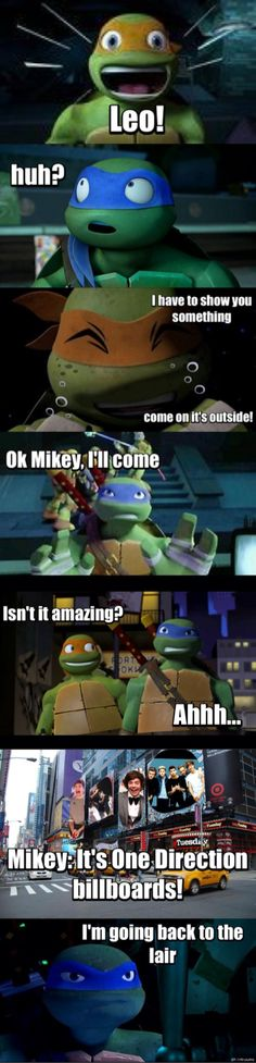 Mikey loves One Direction! leo wait for me! mikey sorry but you have terrible taste!!!!