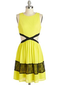 Neon Top of the World Dress - Yellow, Black, Cutout, Lace, Party, A-line, Sleeveless, Scoop, Girls Night Out, Summer