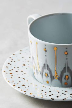 Ikat Thistle Cup & Saucer - anthropologie.com