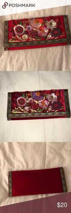 Preston & York Vintage Clutch Beautiful red velvet on the back and amazing beaded work on the front. Magnetic closure with a slim shoulder strap if you want it to be a shoulder bag. One inside pocket. Excellent condition! No trades please. Offers welcome through the offer feature. Thanks for looking! Xoxo Amanda Preston & York Bags Clutches & Wristlets