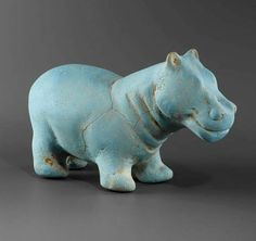 Egyptian Faience Hippo,Late Period 6th-4th Century B.C.