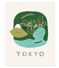 The many attractions of Tokyo come to life in this fanciful view of the city's energy and historic charm. The artwork is reproduced on archival stock from a hand-painted gouache illustration created by Rifle Paper Co. Tokyo Map, Tokyo City, Tokyo Travel, Monte Fuji, Art Carte, Travel Illustration, Rifle Paper Co, Map Design, Map Art