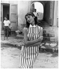 Elsa Martinelli in a dress by La Boutique, photo by Regina Relang, Sant'Angelo, Ischia, 1954