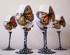 Monarch Butterflies hand painted wine glasses  set by Jdboutique, $100.00