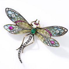 Art Nouveau Plique-a-Jour Dragonfly Brooch