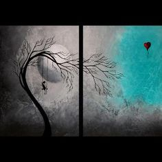 Emo painting with a tree and a red heart balloon ... OK, now I think I'm DEEPLY in love ... <3 <3 <3 <3