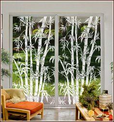 Big Bamboo Static Cling Decorative Window Film - Vinyl Glass Covering