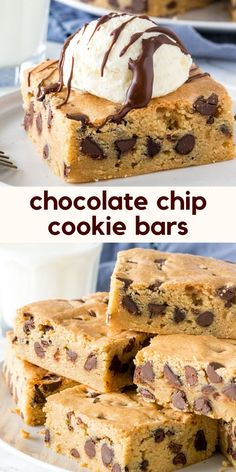 Soft, chewy and packed with chocolate chips - these easy cookie bars are perfect for turning into a cookie sundae, or whenever you want extra soft, super thick chocolate chip cookies! from Just So Tasty Recipes cookies Chewy Chocolate Chip Cookie Bars Perfect Chocolate Chip Cookies, Chewy Chocolate Chip Cookies, Chocolate Cookie Recipes, Easy Cookie Recipes, Recipes With Chocolate Chips, Soft Cookie Recipe, Cookies Soft, Cookie Dough Recipes, Easy Baking Recipes