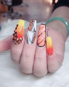 Ombre Long Nail With Rhinestones Rose Nails, Heart Nails, Long Nail Designs, Nail Art Designs, Diy Nails, Swag Nails, Best Nail Salon, 4th Of July Nails, Marble Nail Art