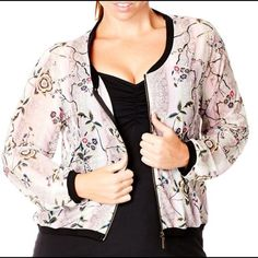 NWOT 1X/2X Bomber Jacket can fit XL a little baggy Floral Bomber Jacket, thin and sheer material with pockets. Cute for the Spring City Chic Jackets & Coats