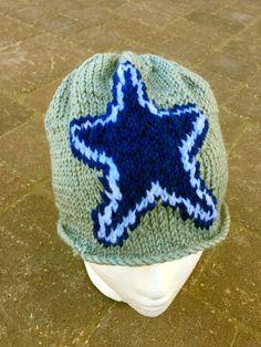 806dc7f89a7df7 Dallas Cowboys Logo Beanie Hat PATTERN - Large Unisex Intarsia Knit in Rows