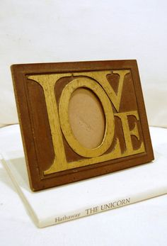 Vintage 70's LOVE Picture Frame  Jos B English by 5thstreetbazaar, $35.00