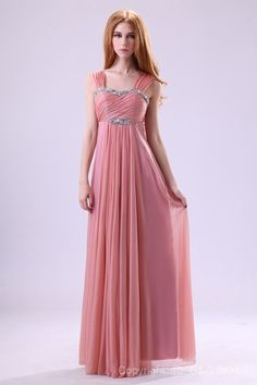 Floor-length Sleeveless Empire Waist Sweetheart Watermelon Celebrity Inspired Evening Dresses
