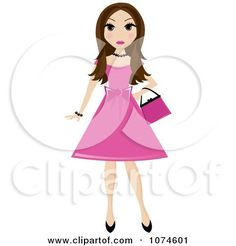 Image result for pink prom dress cartoon