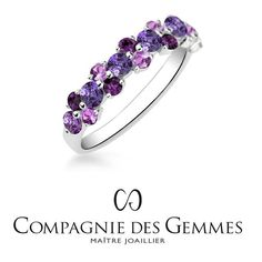 Purple & pink sapphires mixed with amethysts for an explosion of color ✨ The 'Ondine' ring, available in several colors on our website  link in bio #jewel #jewelry #stone #precious #ring #weddingband #wedding #sapphire #pink #violet #amethyst #quartz #gold #summer #color