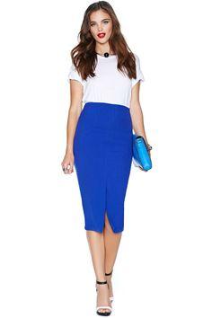 Blue skirt, white sheer shirt, mustard belt and booties.