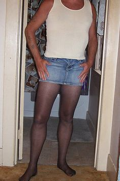 """Denim micro mini's and tights work for men... real men NOT """"cross dressing"""" to look like women... PictureTrail: Online Photo Sharing, Social Network, Image Hosting, Online Photo Albums"""