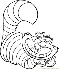 Image Detail for - Coloring Pages Cheshire Cat Color (Animals > Cats) - free printable ...