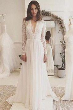 229a4045c46 Off White Chiffon Open Back Long Sleeves Wedding Dress