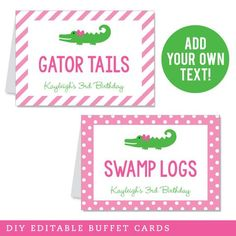 Use these editable tent cards as food labels on your buffet, or as place cards... 3rd Birthday Parties, Birthday Diy, Diy Party, Party Favors, Alligator Party, Table Tents, Party Buffet, Tent Cards, Food Labels