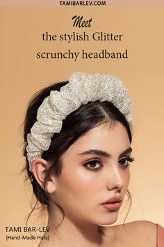 The iconic scrunchy we all know and love, transformed in to this desirable statement headband, with the perfect EXTRA glitter sparkle! Headpiece Wedding, Bridal Headpieces, Bridal Hair, Headband Hairstyles, Wedding Hairstyles, Hair Updo, Rehearsal Dinner Outfits, Glitter Photography, Wedding Party Dresses