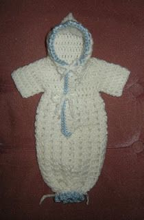 Gods Tiny Angels Patterns: Louisas' Preemie Bunting for charity only NOT for sale. I would like to make some baby items and give in your memory my sweet darling Vylette . Baby Bunting, Crochet Bunting, Crochet Baby Cocoon, Crochet Bebe, Baby Blanket Crochet, Free Crochet, Preemie Crochet, Newborn Crochet, Crotchet Patterns