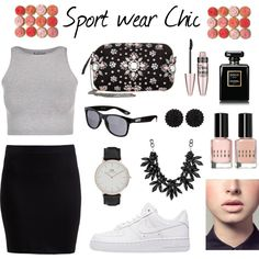 Sport wear Chic ! on Polyvore featuring mode, even&odd, Free People, Zalando, NIKE, Daniel Wellington, sweet deluxe, Vans, Maybelline and Easy Spirit