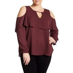 Stony Long Sleeve Cold Shoulder Blouse (Plus Size) ($22) ❤ liked on Polyvore featuring plus size women's fashion, plus size clothing, plus size tops, plus size blouses, lovestruck, plus size, red blouse, cold shoulder tops, cold shoulder blouse and red ruffle blouse