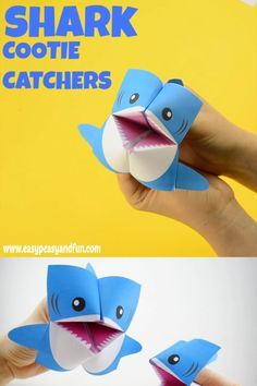This shark cootie catcher is just a bit more awesome than your regular fortune teller! # Shark Cootie Catcher – Origami Ideas for Kids Preschool Crafts, Diy Crafts For Kids, Projects For Kids, Fun Crafts, Kids Diy, Beach Crafts, Nature Crafts, Paper Crafts Origami, Paper Crafting
