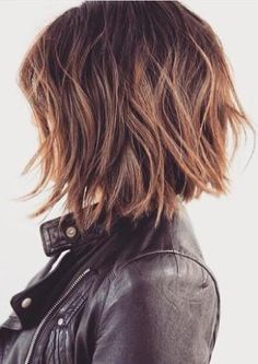 Edgy messy bob, rich brown for color base with golden blonde balyage
